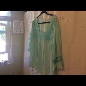 Light teal bohemian women's blouse....oversized